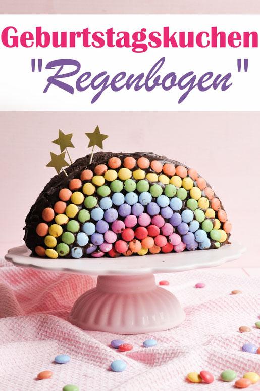 Geburtstagskuchen Schokokuchen in Regenbogen Optik, einfach zu machen, vegan möglich, Thermomix