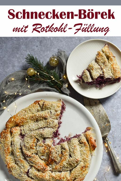 Vegetarische Weihnachten, z.B. mit diesem leckeren Schnecken-Börek mit Rohkohl-Füllung und Feta bzw. Tofu, z.B. leicht orientalisch gewürzt, vegetarisch, vegan, Thermomix