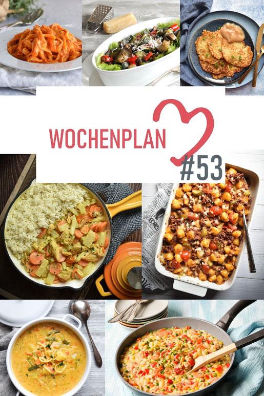 Was soll es die Woche bloß zu essen geben? Ich habe dir hier eine ganze Woche an leckeren Rezepten zusammengestellt - du kannst sie alle vegan oder vegetarisch kochen - der mix dich glücklich Wochenplan für den Thermomix - Nummer 53