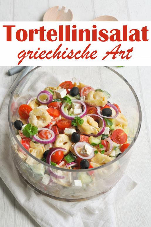 Tortellini Salat griechische Art, Nudelsalat, Partysalat, zum Grillen, Buffet, vegetarisch, vegan möglich