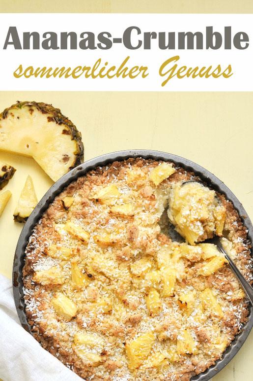 Ananas Crumble, Sommerfeeling, Dessert, vegan möglich, nur 5 Zutaten, Thermomix