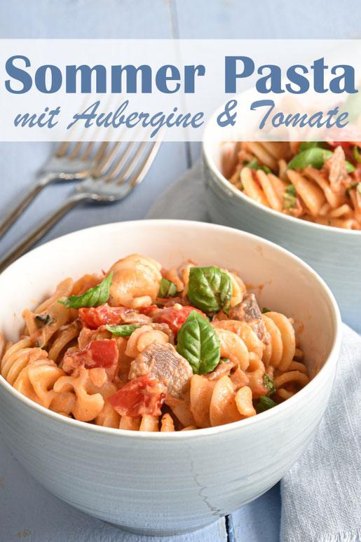 Sommer Pasta mit Tomaten und Auberginen, leckere vegetarische bzw. vegane Soße zu Nudeln, Gemüse, Mittagessen, Thermomix