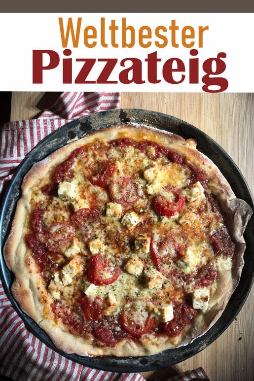 Wenn ihr diesen weltbesten Pizzateig gemacht habt, wollt ihr nie wieder einen anderen machen, versprochen! Damit bekommt ihr knusprig dünne italienische Pizza oder auch dickere Pizza, Thermomix