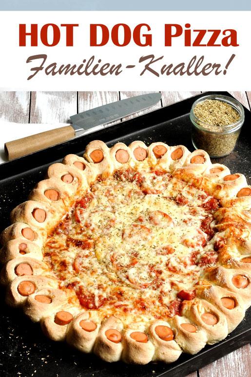 Der Knaller für die Familie: XXL Hot Dog Pizza - mit Würstchenrand - fantastische Familienpizza, vegetarisch, vegan möglich