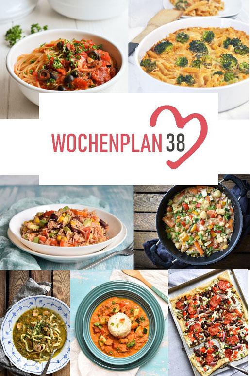 Was soll es die Woche bloß zu essen geben? Leckeres Gemüse, Pasta, Pizza oder lieber ein Curry oder Reisgericht? Hier kommt Wochenplan 38, Thermomix