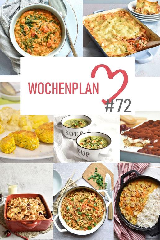 Was soll es die Woche bloß zu essen geben? Ich habe dir hier eine ganze Woche an leckeren Rezepten zusammengestellt - du kannst sie alle vegan oder vegetarisch kochen - der mix dich glücklich Wochenplan für den Thermomix - Nummer 72