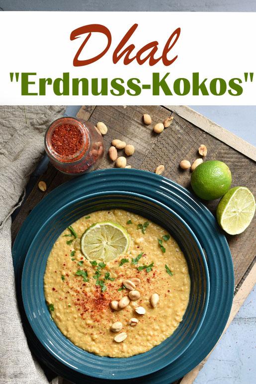 Erdnuss Kokos Dhal, Linseneintopf in einer neuer Variante, vegetarisch, vegan, Thermomix, Mittagessen