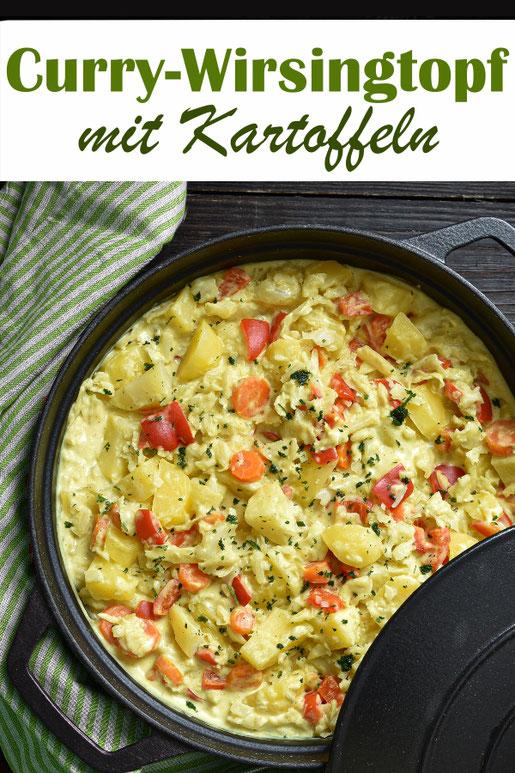 Curry Wirsingtopf, mit Kartoffeln, Möhren und Paprika, vegetarisch, vegan möglich, ALL IN ONE Rezept für den Thermomix, Mittagessen