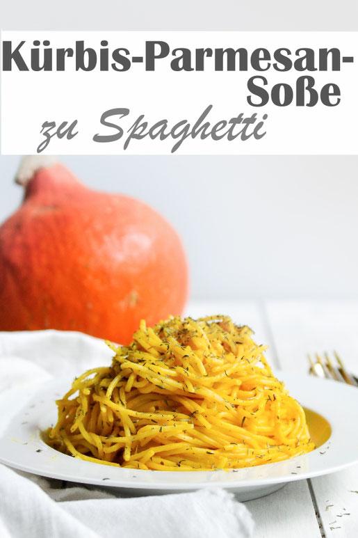 Leckere Kürbis Parmesan Soße zu Spaghetti, mit Thymian oder Majoran gewürzt, super lecker, Thermomix, vegetarisch, vegan als Alternative im Rezept mit aufgeführt