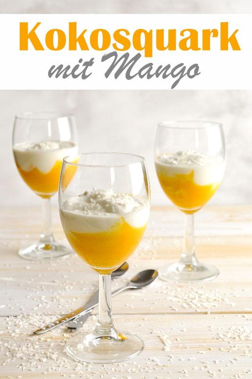 Leichtes und leckeres Dessert: Kokosquark mit Mangopüree, low carb,  vegan möglich, Thermomix