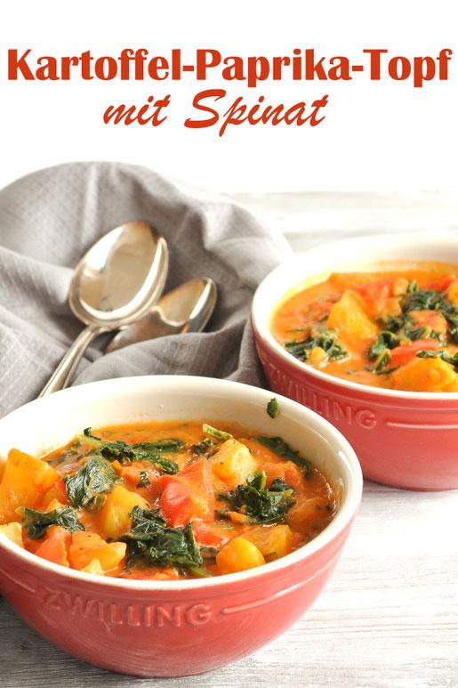 Kartoffel Paprika Topf mit Spinat, vegetarisch, vegan möglich, All in One Gericht, Thermomix