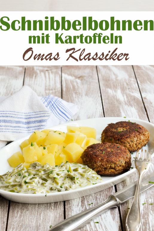 Schnibbelbohnen mit Kartoffeln und Frikadellen - wie von Oma, Klassiker, gestovte Bohnen, vegetarisch, vegan machbar, Thermomix