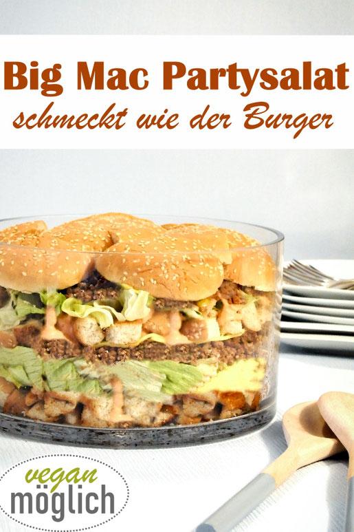 Big Mac Salat für die nächste Party, ein Salat, der wie der bekannte Burger schmeckt, vegetarisch, vegan möglich, Sommerparty, Geburtstagsparty, Silvester