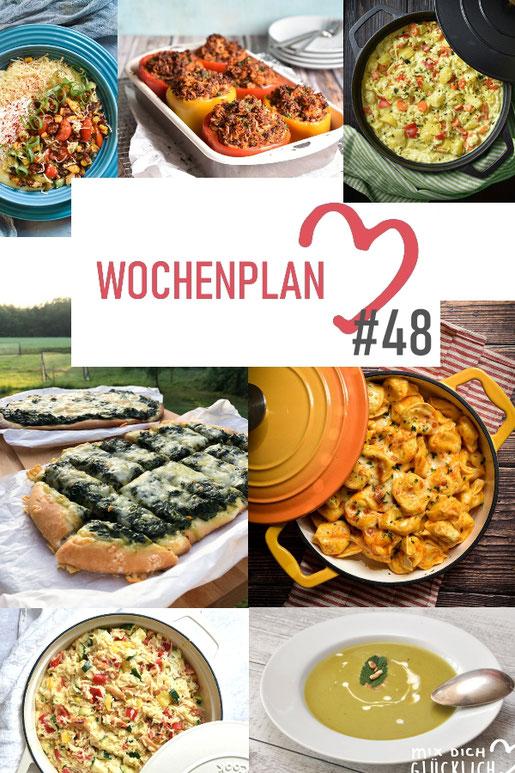 Was soll es die Woche bloß zu essen geben? Ich habe dir hier eine ganze Woche an leckeren Rezepten zusammengestellt - du kannst sie alle vegan oder vegetarisch kochen - der mix dich glücklich Wochenplan für den Thermomix - Nummer 48