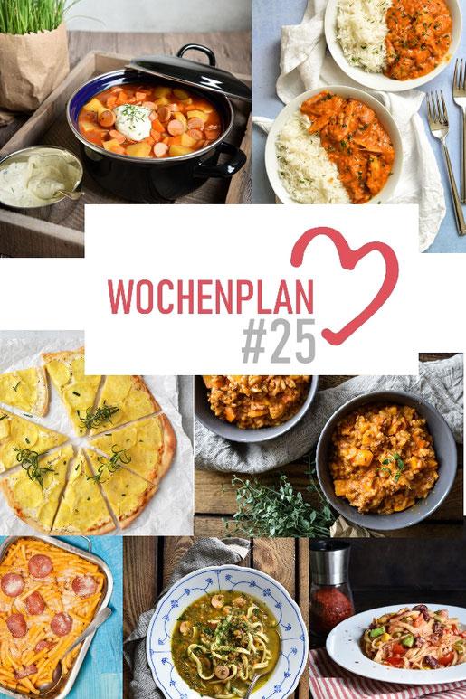 Was soll es die Woche bloß zu essen geben? Ich habe dir hier eine ganze Woche an leckeren Rezepten zusammengestellt - du kannst sie alle vegan oder vegetarisch kochen - der mix dich glücklich Wochenplan für den Thermomix - Nummer 25