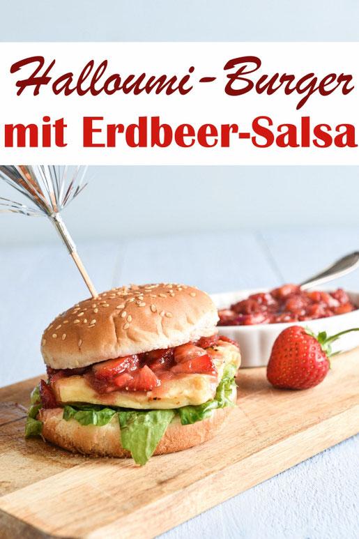 Halloumi Burger mit Erdbeer-Salsa, gemacht mit roter Zwiebel, Erdbeeren und Chili, wie eine Art Chutney, passt sehr gut zu Käse, Erdbeer Rezepte, Sommerrezepte, vegetarisch grillen, Thermomix