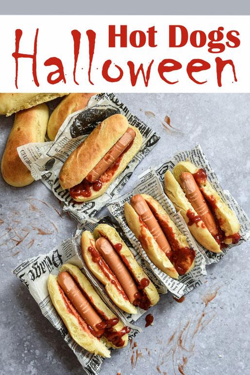 Halloween Hot Dogs in selbst gemachten Hot Dog Brötchen, abgehackte Finger aus Würstchen mit einem Skalpell bearbeiten mit viel Ketchup servieren, Partybuffet, gruselig, Thermomix, vegetarisch, vegan machbar