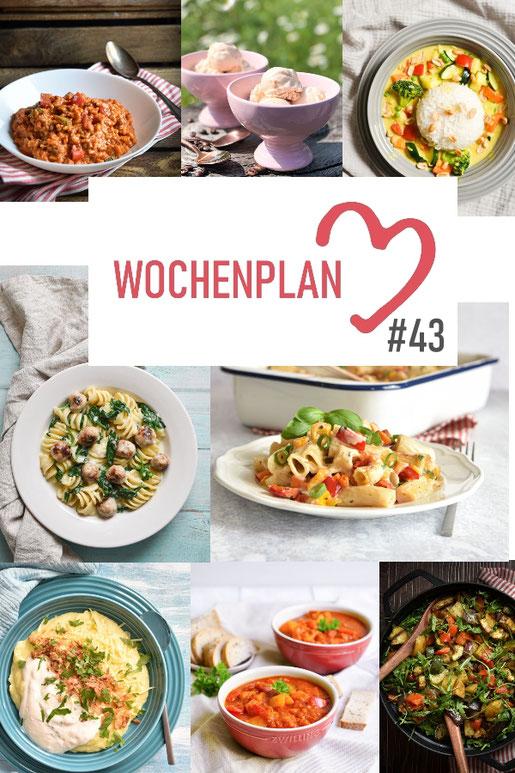 Was soll es die Woche bloß zu essen geben? Leckeres Gemüse, Pasta oder lieber ein Curry oder Reisgericht? Hier kommt Wochenplan 43, Thermomix