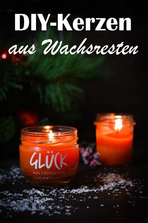 Wachsreste in einem Marmeladenglas geschmolzen ergeben tolle neue DIY Kerzen, z.B. auch mit Duft versehen, hier im Thermomix gemacht