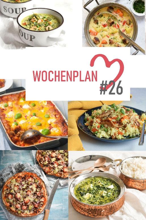 Was soll es die Woche bloß zu essen geben? Ich habe dir hier eine ganze Woche an leckeren Rezepten zusammengestellt - du kannst sie alle vegan oder vegetarisch kochen - der mix dich glücklich Wochenplan für den Thermomix - Nummer 26