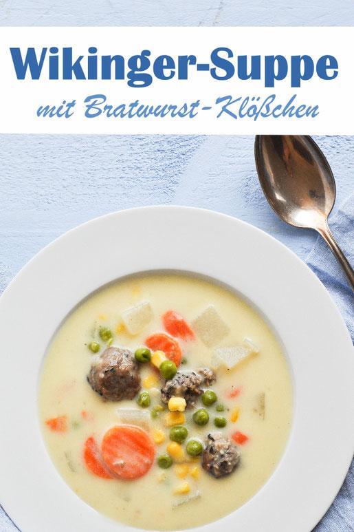 Wikingersuppe - Kartoffelsuppe mit Möhren Erbsen Mais Kohlrabi und Bratwurst, leckere Kartoffelsuppe für Kinder, vegetarisch, vegan möglich, Thermomix