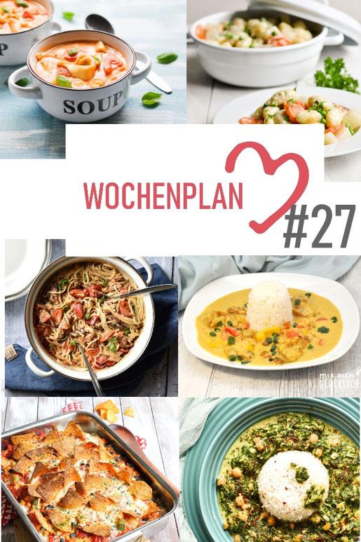 Was soll es die Woche bloß zu essen geben? Ich habe dir hier eine ganze Woche an leckeren Rezepten zusammengestellt - du kannst sie alle vegan oder vegetarisch kochen - der mix dich glücklich Wochenplan für den Thermomix - Nummer 27