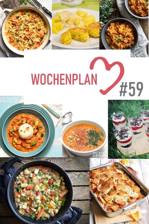 Was soll es die Woche bloß zu essen geben? Ich habe dir hier eine ganze Woche an leckeren Rezepten zusammengestellt - du kannst sie alle vegan oder vegetarisch kochen - der mix dich glücklich Wochenplan für den Thermomix - Nummer 59