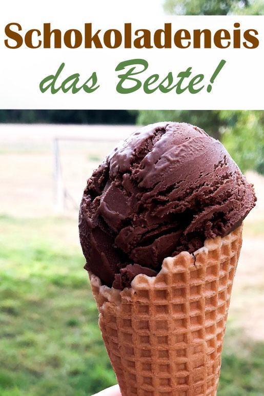 Das beste selbstgemachte Schokoladen Eis - mit oder ohne Eismaschine, mit Ei, Zartbitterschokolade und Sahne