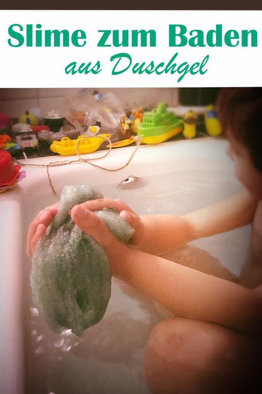 selbst gemachter Slime zum Baden, aus Duschgel bzw. Betain, Flohsamenschalen und Wasser, mit dem Thermomix gemacht, Badespaß für Kinder, Badezusatz selbst gemacht