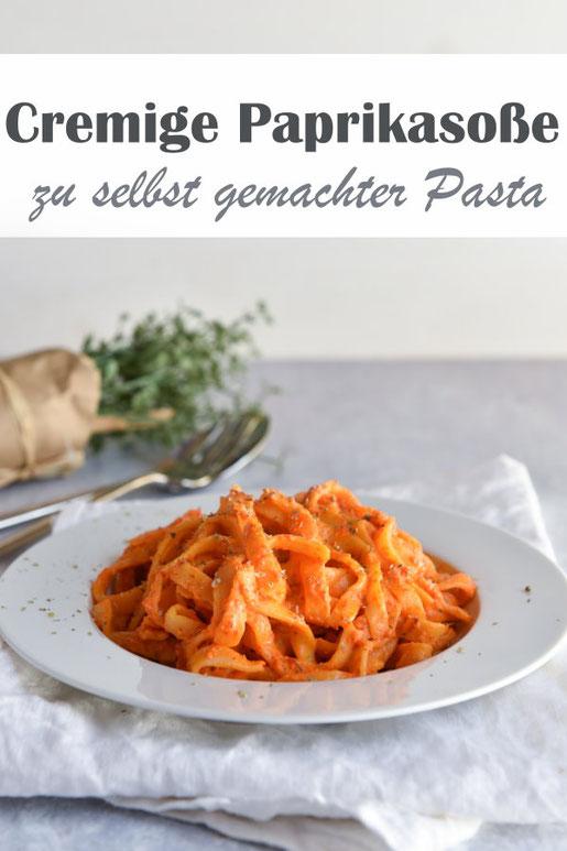 Cremige Paprikasoße zu selbst gemachter Pasta aus Hartweizengrieß aus dem Pastamaker, vegan, vegetarisch, Mittagessen, leckere Nudelsoße, Nudeln, Thermomix