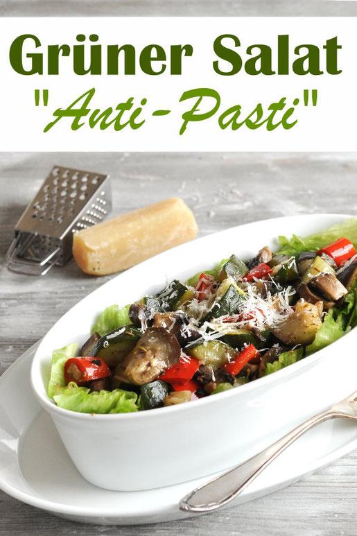 Grüner Salat mit Anti Pasti, als leichte Hauptmahlzeit für 4 Personen oder als Partysalat durchgemischt, vegetarisch, vegan möglich, Thermomix