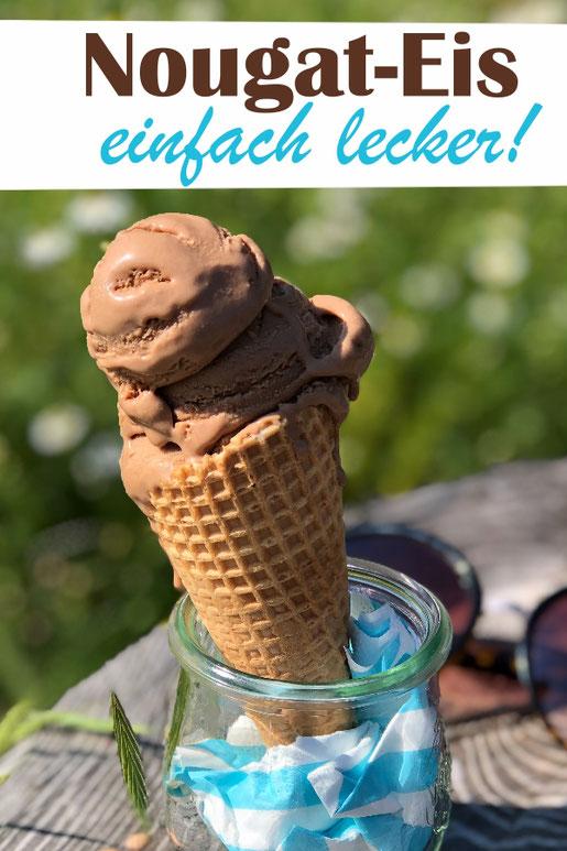 Selbst gemachtes Nougat Eis - mit oder ohne Eismaschine, 2 Versionen: Mit Eigelb und Sahne und Nougat bzw. in der veganen Version
