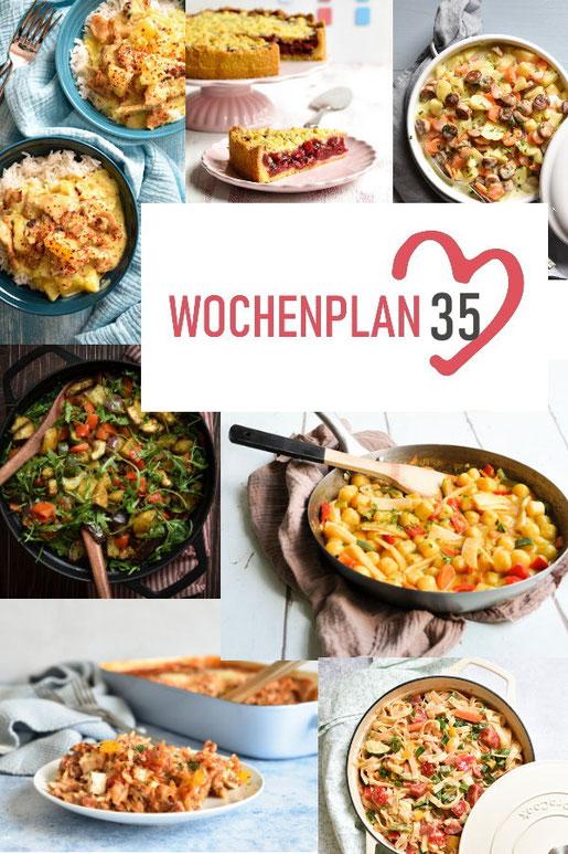 Was soll es die Woche bloß zu essen geben? Leckeres Gemüse, Pasta, Pizza oder lieber ein Curry oder Reisgericht? Hier kommt Wochenplan 35, Thermomix