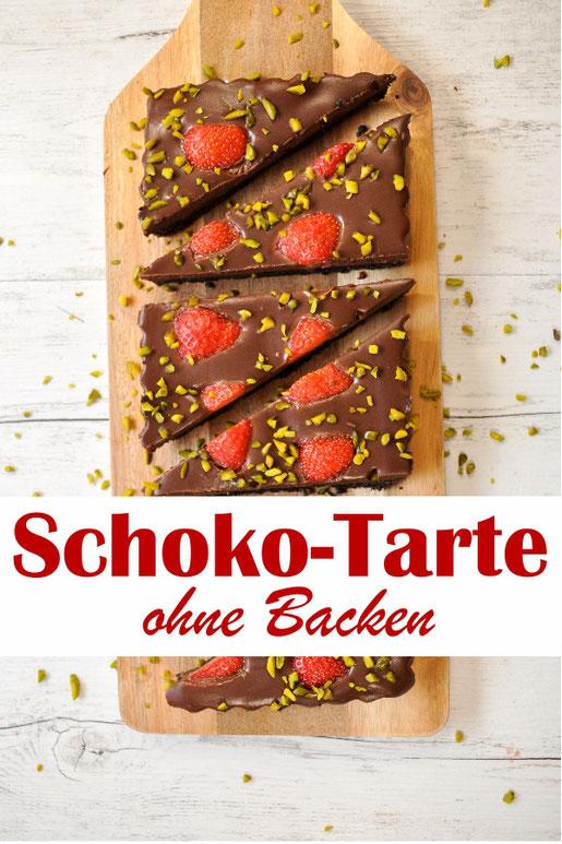 Schoko Tarte mit Oreo Keks Boden und Erdbeeren, ohne Backen, z.B. aus dem Thermomix, vegan möglich