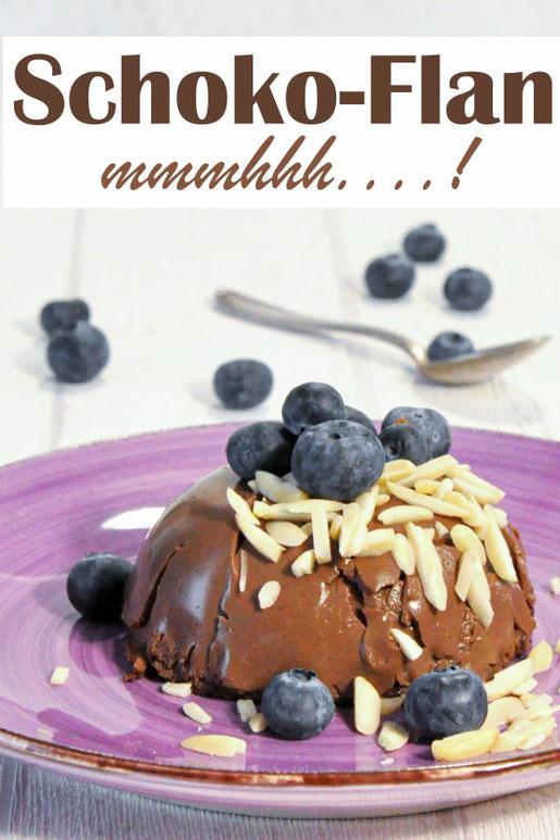 Schoko-Flan, Dessert aus dem Backofen, Masse im Thermomix vorbereitet