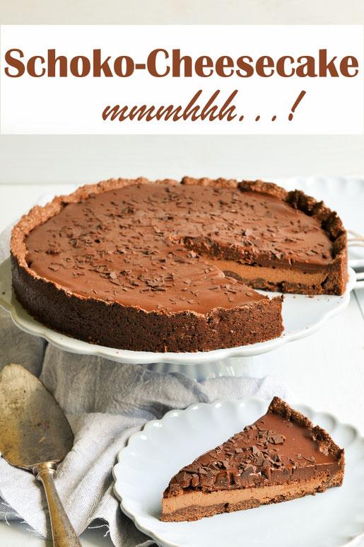 fantastischer Schokoladen Cheesecake, Schoko Käsekuchen, für Chocoholics, vegan möglich, z,B. aus dem Thermomix