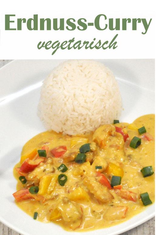 vegetarisches Erdnuss Curry mit Paprika, Erdnussbutter, Kokosmilch, Tofu, vegetarisch, vegan, z.B. aus dem Thermomix
