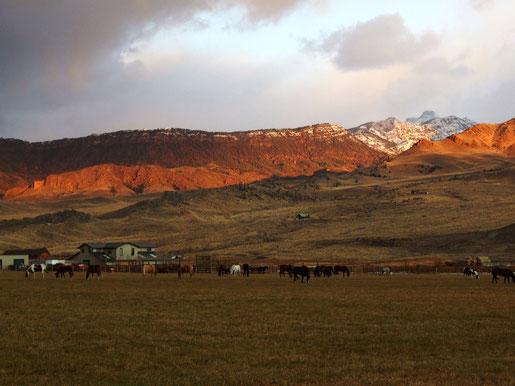 Sonnenaufgang am Buffalo Bill Cody Scenic Byway, WY