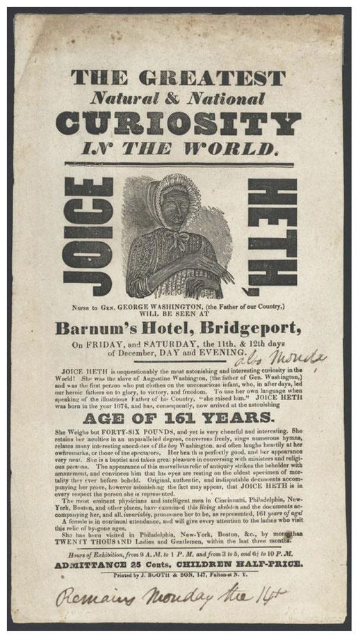 """""""161歳のジョージ・ワシントンの元乳母""""という売り文句を付けられたジョイ・ヘスの広告。"""