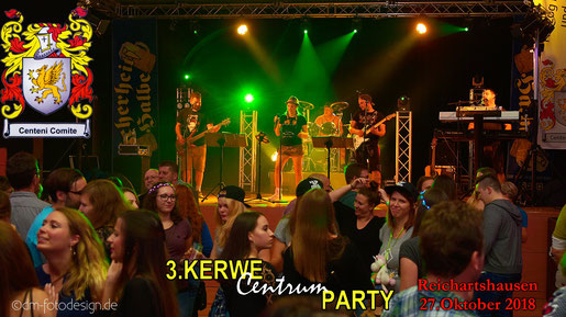 Partyband Sicherheitshalbe auf deKerwe in Reichartshausen am 27.10.2018, verlinkt zum Facebook - Fotoalbum