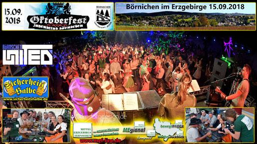 Partyband Sicherheitshalbe auf dem Oktoberfest in Börnichen  am 15.09.2018, verlinkt zum Facebook - Fotoalbum