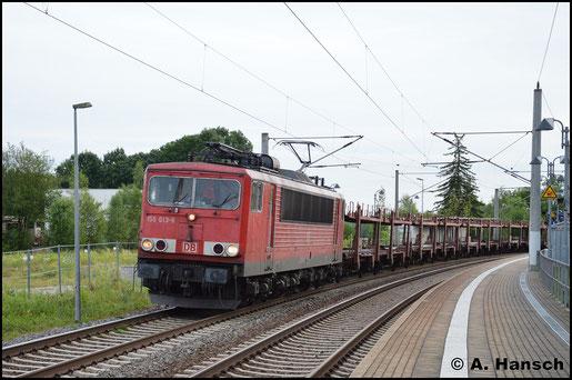 Am 29. Juni 2017 gelang diese Aufnahme von 155 013-6 am Hp Chemnitz-Hilbersdorf. Sie zieht den GA 47353 gen Dresden