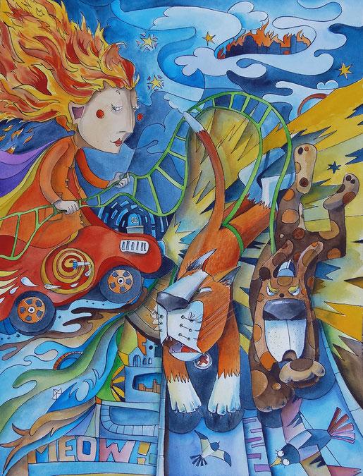 Die Göttin des Feuers saust auf einem Bobbycar, das von einem Hund und einer Katze gezogen wird, über das Land.