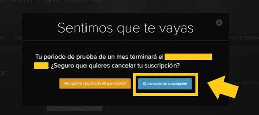 Suscripcion cancelada HBO España