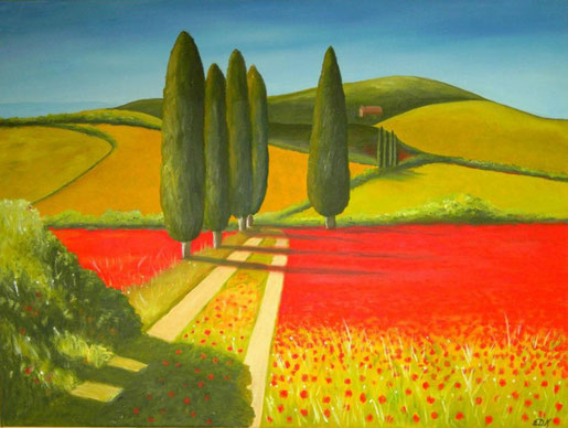 Toskana-Landschaft Öl auf 4 cm tiefer Leinwand (60 x 80 cm). Unverkäuflich (im Privatbesitz).