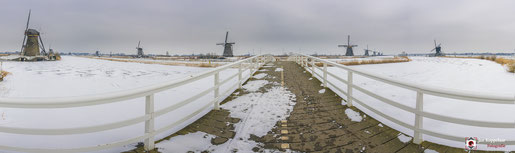 Panorama Winters Kinderdijk