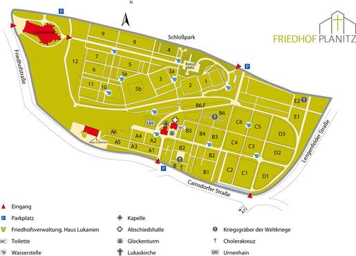 Lageplan Friedhof Planitz