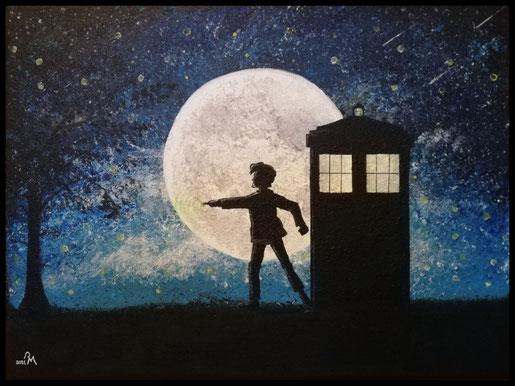 Komplett mit Acrylfarben und Pinsel auf Leinwand gemalt.