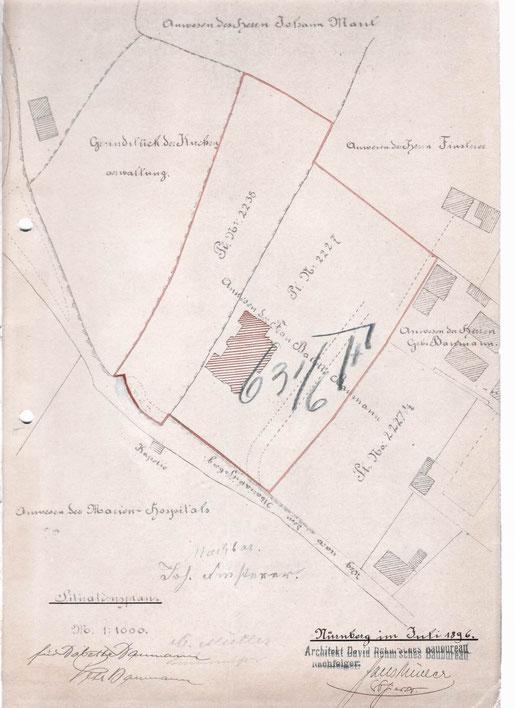 1896 Bauantrag Lageplan