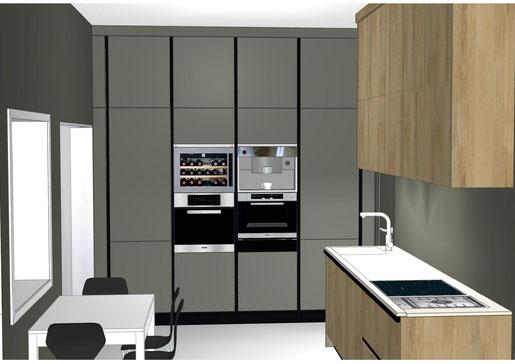 Projet de cuisine à Talence par MP intérieurs, Architecte d'intérieur UFDI : projet 3D avec vue sur zone de rangements.